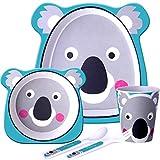 Get Fresh Vajillas de Bambú para Niños - 5 Piezas Motivo Koala Juego de Platos de Bambú para Bebes y Niños - Vajilla de Bambu Infantil con Taza Plato y Cuenco sin BPA