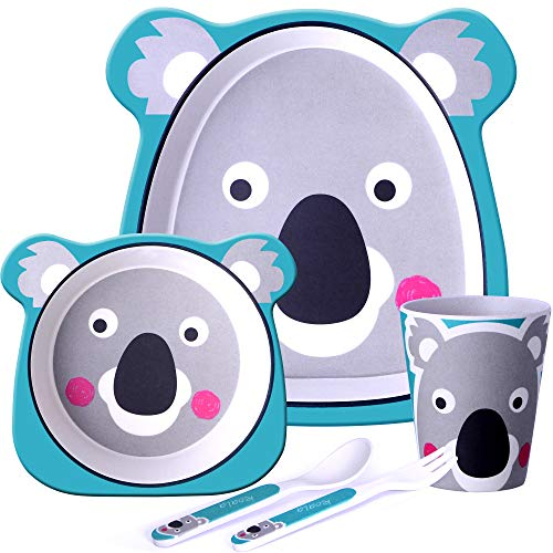 GET FRESH Kids Bamboo Dinner Set – 5 Piece Bamboo Childrens Dinner Set with Bamboo Kids Plate Bowl Cup Spoon and Fork – Cute Koala Bamboo Kids Dinnerware Set with 5 Bamboo Fibre Baby Tableware Dishes