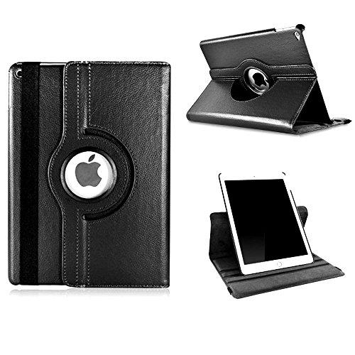 Custodia per iPad Air 2-Flip Case Cover protettiva in pelle con Stand-Custodia in pelle PU, rotanti a 360 gradi-Custodia protettiva per Apple iPad Air 2 (iPad 6-Custodia in pelle, con protezione nero