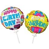 Happy Birthday Balloons. Simply Press to Self Inflate. Durable & Long Lasting, 7.5', Pack of 2
