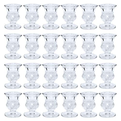 Hosley Set of 24 Glass Taper Candle Holders 2.5 Inches High Ideal Gift for Weddings Party Favor Reiki Meditation O3