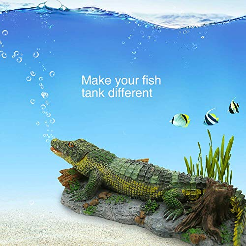 Boxtech Aquarium Decoration - Aerating Action Ornament - Shell Pearl Air Stone Aquarium Fish Tank Shell Bubbler Decor (Crocodile Bubbler Decoration)