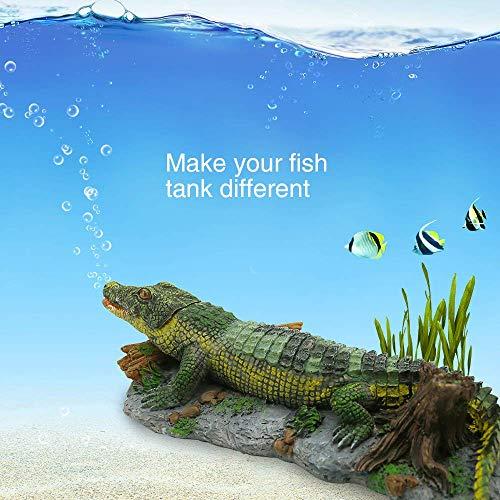 Boxtech Aquarium Decoration - Aerating Action Ornament - Shell Pearl Air Stone Aquarium Fish Tank Shell Bubbler Decor (Crocodile Bubbler Decoration)