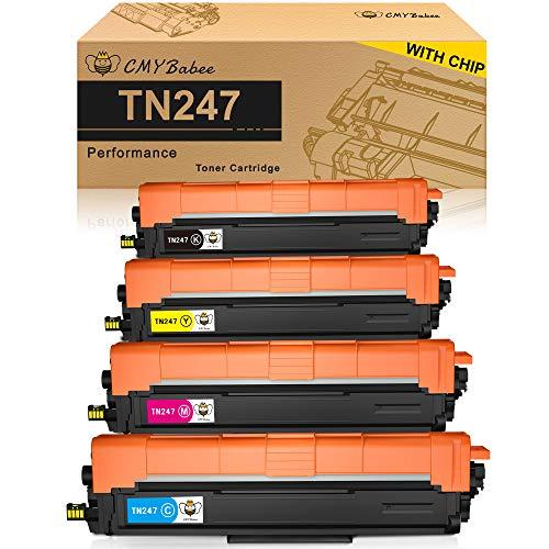 CMYBabee Cartucho de Tóner Compatible Repuesto para Brother TN247 TN243 para HL-L3210CW HL-L3230CDW HL-L3270CDW MFC-L3710CW MFC-L3730CDN MFC-L3750CDW MFC-L3770CDW DCP-L3510CDW DCP-L3550CDW(4 Paquete)