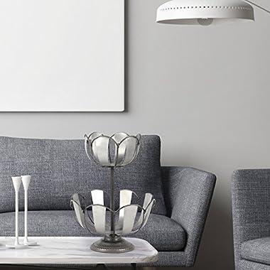Adeco 2-Tier Lotus Style Metal Fruit Basket / Silver Grey