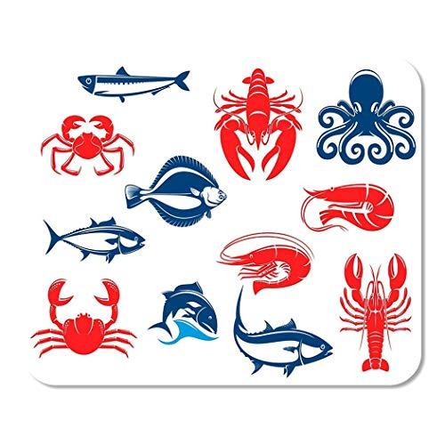 N\A Mousepad Computadora Bloc de Notas Oficina Mariscos con Pescado y crustáceos Cangrejo Camarones Salmón Langosta Pulpo Atún Gambas Hogar Escuela Jugador de Juegos Trabajador informático