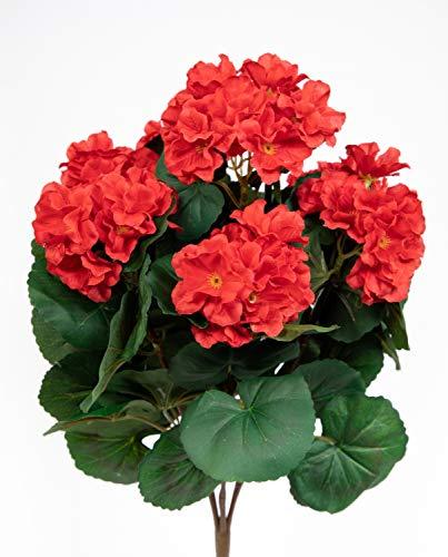 Geranie 38cm rot -ohne Topf- ZF Kunstpflanzen künstliche Blumen Pflanzen Kunstblumen … (rot)