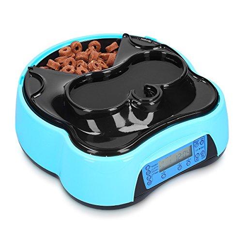 Navaris Dispenser Automatico Cibo Acqua - per Cani e Gatti Ciotola distributore con Timer 4 pasti - con Vassoio Scomparti Separati e orari impostabili