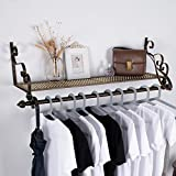 Nicheo Storage Wrought Iron Coat Rack Shelf Wall Mounted, Hanging Closet with Clothing Rods, Garment Hanger for Daily Clothes, Hat, Bag and More. Ideal Organizer for House ( 31.5', Bronze )