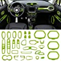 Danti Car Interior Accessories Decoration Trim Air Conditioning Vent Decoration & Door Speaker & Water Cup Holder & Headlight Switch & Window Lift Button Covers for Jeep Renegade 2015-2020 (Green)