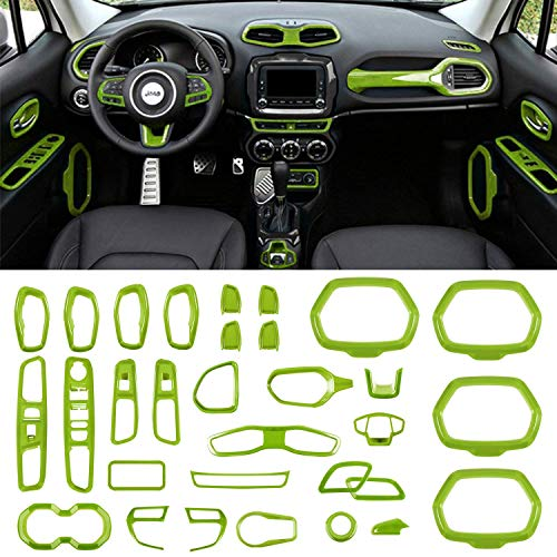 Danti Car Interior Accessories Decoration Trim Air Conditioning Vent Decoration & Door Speaker & Water Cup Holder & Headlight Switch & Window Lift Button Covers fit for Jeep Renegade 2015-2020 (Green)