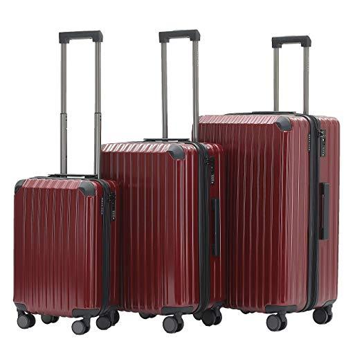 Münicase M816 TSA-Schloß Koffer Reisekoffer Trolley Kofferset Hardschale Boardcase Handgepäck (Weinrot, 3tlg. Kofferset)