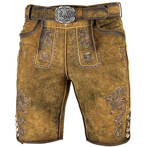 Stockerpoint Trachten Lederhose inklusive Gürtel OC-Mondi für Herren, kurz 100% feinstem Leder (52, Hellbraun)