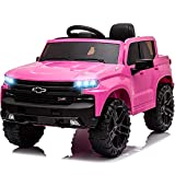 Little Brown Box 12V Licenced Chevrolet Silverado Ride On Truck for Kids to Drive - Battery Powered Ride On Toy w/ Remote Control, Sounds, Lights,2 Speeds,Electric Car for Toddler,Baby,3-7 Years Pink