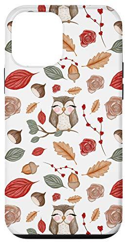 iPhone 12 mini Cute Fall Autumn Acorn Leaves Owl Floral Pattern Gift Case