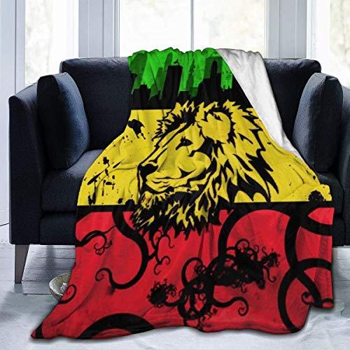Tonesum Tirar Una Manta,Cubierta De Cama,Mantas De Cama,Manta De Franela,Oficina Manta De Sofá,Colcha Suave,Manta Cálida A Cuadros,Rasta Lion of Retro L