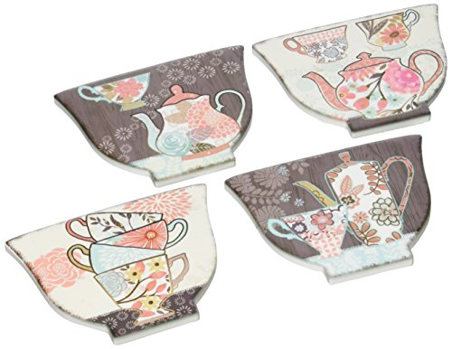 Villa d'Este Home Tivoli Poggiami Set 4 Sottobicchieri Teiere, Ceramica, Multicolore, 4 unità