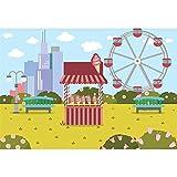 OERJU 5x4ft Kids Amusement Park Theme Photography Background Ice Cream Store Ferris Wheel Cartoon City View Buildings Baby Shower Photo Backdrop Kids Birthday Party Decor Banner Photo Studio Props