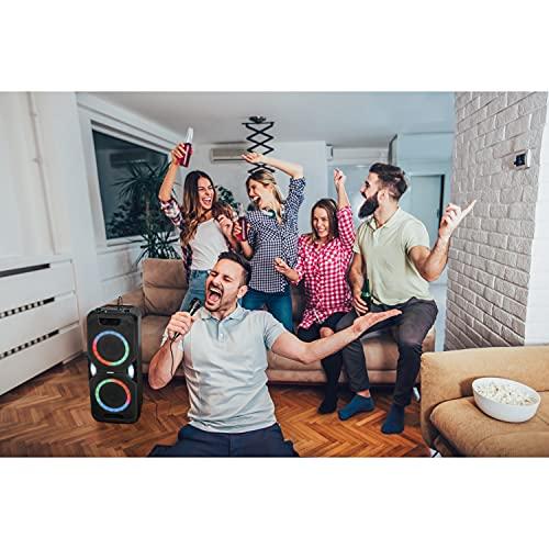 MEDION P67038 Party-Soundsystem (Partylautsprecher, Karaoke, Akku, UKW Radio, Bluetooth 5.0, Kompaktanlage, 2X 220 Watt, Farbige LED, USB, AUX, 2X Mikrofonanschluss)