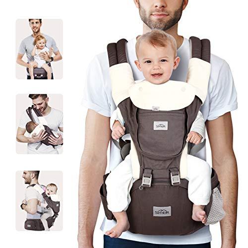 SIMBR Portabebé Ergonómico con Asiento para Bebés de 3 a 36 Meses Portador de Bebé con 12 Usos Multifuncionales, 3D tejido de red, Carga Máx 20 kg, Puro Algotón 100%