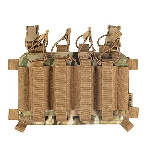 OneTigris Taktisches Plakat 04 Chest Rig Weste Add-on Quad SMG Mag Pouch Magazinetaschen Pistole DREI-Fach für Chest Rig Plattenträger | MEHRWEG Verpackung (Multicam)