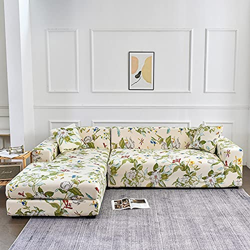 WXQY Funda de sofá de Esquina en Forma de L elástica Todo Incluido sofá a Prueba de Polvo Toalla Funda de sillón sofá de Esquina protección Muebles A2 4 plazas