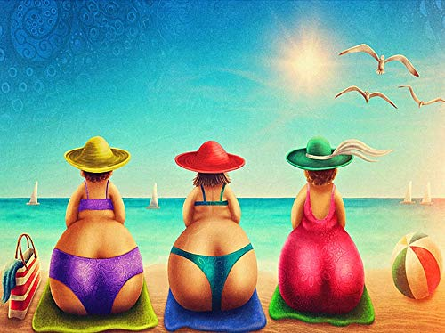 DIY 5D Full Drill Fat Ladies Square Diamond Painting by Number Kits for Adults and Children Sexy Beach Bikini Crystal Rhinestone Cross Stitch Cartoon Pictures for Wall Decoration (40x30CM/16x12IN)