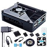 Bruphny Caja para Raspberry Pi 4, Caja con Ventilador, 5.1V 3A USB-C Cargador, 4 x Disipador, 1.8M Micro-HDMI Cable, USB...