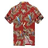 Hecho en Hawaii Camisa Hawaiana de los Hombres Camisa Hawaiana 4XL Loros y Hoja en Rojo