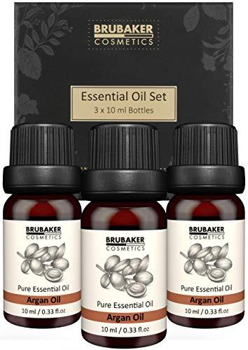 BRUBAKER Cosmetics Set van 3 Arganolie - Gezond Haar, Lange Wimpers & Geweldige Huid - Etherische Oliën Giftset 3 X 10 ML Arganolie Natuur & Veganist.