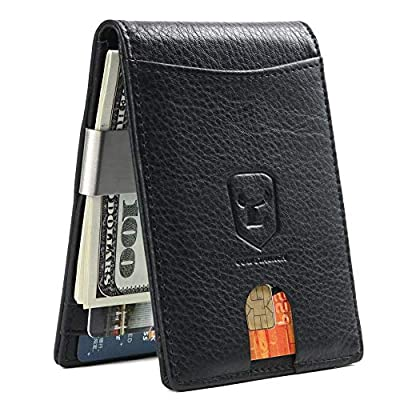 Money Clip Wallet for Mens Genuine Leather Slim Front Pocket RFID Blocking Card Holder Minimalist (903,black)