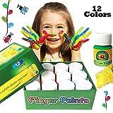 pintura de dedo para niños,12 colores lavable Pinturas para niños no tóxicas,...