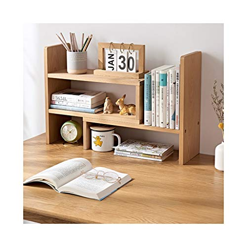 Estantería de escritorio escalable para escritorio, encimera, escritorio, escritorio, escritorio, escritorio, de madera, accesorios de almacenamiento de escritorio (color: natural, tamaño: B)