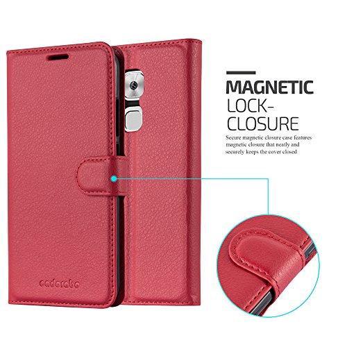 Cadorabo Hülle für Huawei NOVA Plus - Hülle in Karmin ROT – Handyhülle mit Kartenfach und Standfunktion - Case Cover Schutzhülle Etui Tasche Book Klapp Style - 6