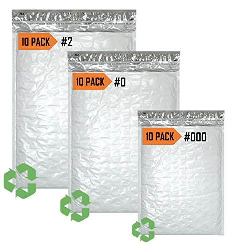 Sales4Less Poly Bubble Mailers #2 8.5X12 10 Pack, 0 6X10 10 Pack, 000 4X8 10 Pack Padded Envelope Mailer Waterproof Variety Pack