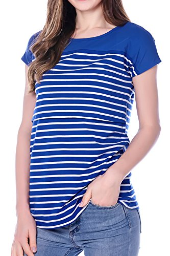 Smallshow Women's Maternity Nursing Tops Breastfeeding T-Shirt Large Blue