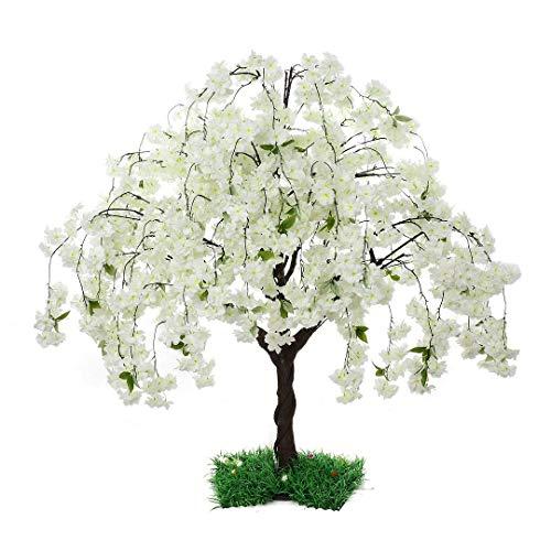 SPKTCULR Árbol de cerezo en flor artificial blanco, árbol de flores de sakura de seda, árbol de flores de melocotón de imitación para decoración del hogar de bodas en interiores o exteriores de 150 CM