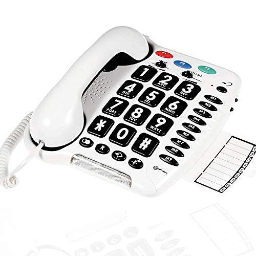 Geemarc CL100- Teléfono con cable Senior – Botones grandes – Flash luminoso – Amplificado + 30 dB | Compatible con los dispositivos auditivos – Sonido extra fuerte (+80dB)