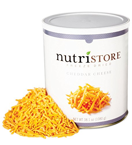 Nutristore Freeze Dried Cheddar Cheese Shredded | Premium Quality | Amazing Taste | Perfect for Camping | Survival Food (Single Can)