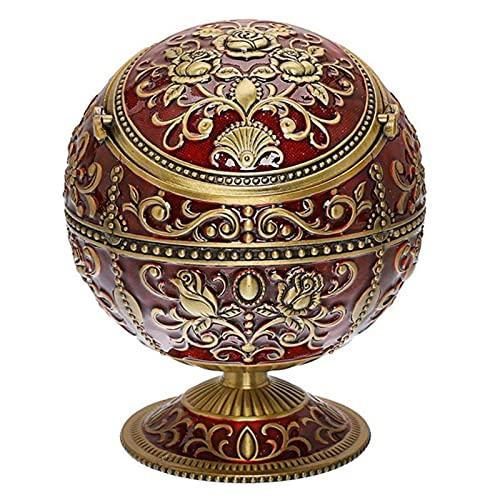 Vintage a prueba de viento cenicero aleación de zinc flor patrón globo ceniza bandeja tapa mesa portátil decoración del hogar ceniceros regalo para