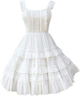 Women Girls Layered Sleeveless High Waist Knee Length Casual Dress Summer Lolita Solid Color