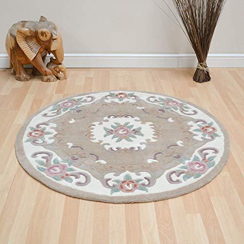 Tapis de sol à motif floral traditionnel d'Aubusson à lotus par Flair Rugs, beige, 120x120cm (Circle)