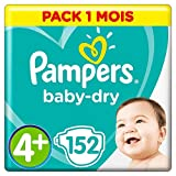 Pampers - Baby Dry - Couches Taille 4+ (10-15 kg) - Pack 1 mois (x152 couches)