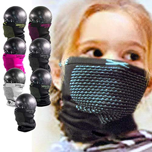 フェイスマスク キッズ ジュニア 子供 UV ネックウォーマー サニーソース ナルーマスク 速乾 防寒 花粉症 バイク サバゲー スノーボード スキー SXJB-1 ホワイト/グレー