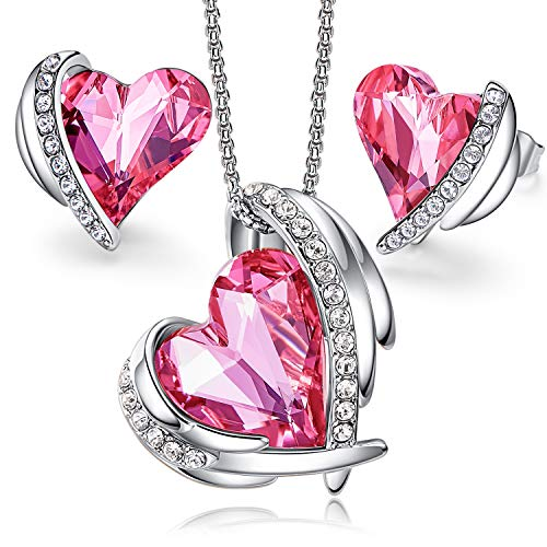 CDE Women Jewelry Set Pink Angel 18K Rhodium Plated Pendant Necklace and Studs Earring Crystals Jewelry for Women