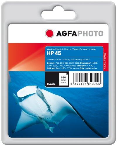 AgfaPhoto Tintenpatrone schwarz kompatibel zu HP45 (51645AE) geeignet für HP Deskjet 800 Series, 710c, 712c, 720c, 722c