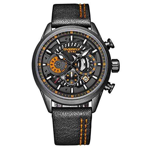 Armbanduhr Personalisierte Hohle Mechanische Gangschaltung Mit Leuchtender Abschlussuhr Mit Kalenderuhr-Trend, Orange
