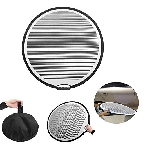 JUST DAWN Reflektor für Autotüren, 80 cm Durchmesser, rund, flexibel, faltbar, tragbar, tragbar, geeignet für von Autotüren, Körperschrammen und Hagelschäden.
