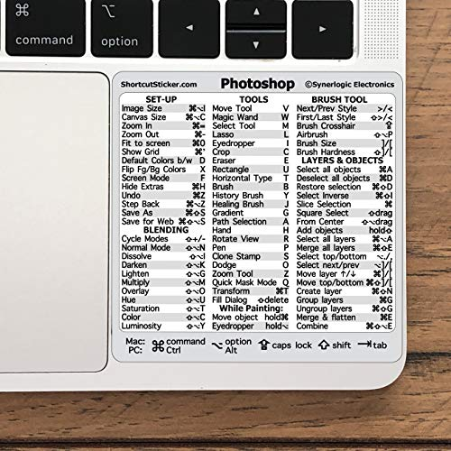 """SYNERLOGIC Adobe Photoshop Quick Reference Keyboard Guide Shortcut Sticker, Laminated Durable Vinyl, Compatible with Any MacBook or PC, Size 3.25""""x3.25"""""""