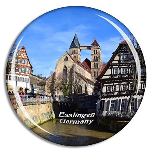 Weekino Esslinger Kirche Deutschland Kühlschrankmagnet 3D Kristallglas Touristische Stadtreise Souvenir Collection Geschenk Starker Kühlschrank Aufkleber